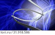 Купить «Digital ribbons intertwined on a cyber background with waving grids», видеоролик № 31918586, снято 4 февраля 2019 г. (c) Wavebreak Media / Фотобанк Лори