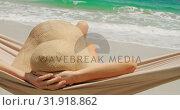 Купить «Rear view of Caucasian woman relaxing in a hammock at beach 4k», видеоролик № 31918862, снято 12 ноября 2018 г. (c) Wavebreak Media / Фотобанк Лори
