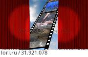 Купить «Theatre curtains showing a film roll», видеоролик № 31921078, снято 5 марта 2019 г. (c) Wavebreak Media / Фотобанк Лори