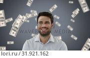 Businessman with money in free-fall on grey background. Стоковое видео, агентство Wavebreak Media / Фотобанк Лори