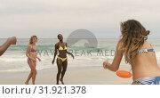 Купить «Group of mixed-race female friends playing flying disc on the beach 4k», видеоролик № 31921378, снято 12 ноября 2018 г. (c) Wavebreak Media / Фотобанк Лори