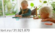 Купить «Kids playing with clay in a comfortable home 4k», видеоролик № 31921870, снято 28 мая 2018 г. (c) Wavebreak Media / Фотобанк Лори