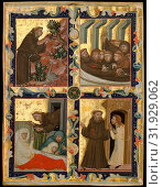 Manuscript Leaf with Scenes from the Life of Saint Francis of Assisi, ca. 1320–42, Made in Bologna (for Hungarian use), Italy, Italian, Tempera and gold... (2017 год). Редакционное фото, фотограф © Copyright Artokoloro Quint Lox Limited / age Fotostock / Фотобанк Лори