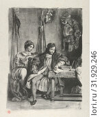 Goetz von Berlichingen Writing his Memoirs, 1836–43, Lithograph on wove paper, second state of four, Image: 10 7/16 x 7 1/2 in. (26.5 x 19 cm), Prints... (2017 год). Редакционное фото, фотограф © Copyright Artokoloro Quint Lox Limited / age Fotostock / Фотобанк Лори