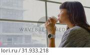 Купить «Businesswoman drinking coffee while sitting near window in a modern office 4k», видеоролик № 31933218, снято 6 декабря 2018 г. (c) Wavebreak Media / Фотобанк Лори