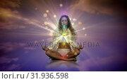 Купить «Woman meditating on the sky», видеоролик № 31936598, снято 17 апреля 2019 г. (c) Wavebreak Media / Фотобанк Лори