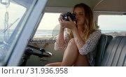 Купить «Young woman taking photo with digital camera 4k», видеоролик № 31936958, снято 9 января 2019 г. (c) Wavebreak Media / Фотобанк Лори