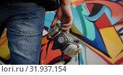Купить «Graffiti artist holding protective mask 4k», видеоролик № 31937154, снято 4 февраля 2019 г. (c) Wavebreak Media / Фотобанк Лори