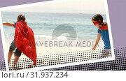 Siblings wearing superhero costumes at the beach. Стоковое видео, агентство Wavebreak Media / Фотобанк Лори