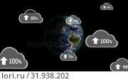 Купить «Upload in the digital cloud worldwide», видеоролик № 31938202, снято 14 мая 2019 г. (c) Wavebreak Media / Фотобанк Лори