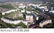 Купить «Top view of the city Orekhovo-Zuyevo. Russian Federation», видеоролик № 31938266, снято 12 мая 2019 г. (c) Яков Филимонов / Фотобанк Лори