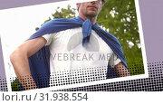 Купить «Man wearing a blue cape», видеоролик № 31938554, снято 25 апреля 2019 г. (c) Wavebreak Media / Фотобанк Лори