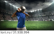 Купить «American football player setting up a throw», видеоролик № 31938994, снято 25 апреля 2019 г. (c) Wavebreak Media / Фотобанк Лори
