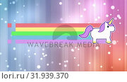 Купить «Unicorn with rainbow and bright lights», видеоролик № 31939370, снято 24 мая 2019 г. (c) Wavebreak Media / Фотобанк Лори