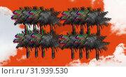 Купить «Static shaped in palm trees 4k», видеоролик № 31939530, снято 8 мая 2019 г. (c) Wavebreak Media / Фотобанк Лори