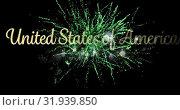 Купить «United States of America text and fireworks 4k», видеоролик № 31939850, снято 24 мая 2019 г. (c) Wavebreak Media / Фотобанк Лори