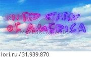 Купить «United States of America text», видеоролик № 31939870, снято 24 мая 2019 г. (c) Wavebreak Media / Фотобанк Лори
