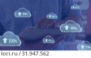 Купить «Upload in the digital cloud», видеоролик № 31947562, снято 14 мая 2019 г. (c) Wavebreak Media / Фотобанк Лори