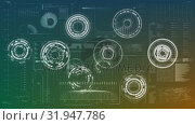 Rotating circles on a background filled with graphs and statistics. Стоковое видео, агентство Wavebreak Media / Фотобанк Лори