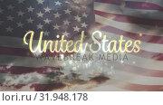 Купить «United States text and the US flag», видеоролик № 31948178, снято 24 мая 2019 г. (c) Wavebreak Media / Фотобанк Лори