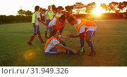 Купить «Female soccer player helping teammate to stand on soccer field. 4k», видеоролик № 31949326, снято 18 апреля 2019 г. (c) Wavebreak Media / Фотобанк Лори