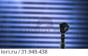 Купить «Robot arm on a striped background», видеоролик № 31949438, снято 24 мая 2019 г. (c) Wavebreak Media / Фотобанк Лори