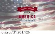Купить «United States of America, Independent since 1776 text in banner and flag», видеоролик № 31951126, снято 24 мая 2019 г. (c) Wavebreak Media / Фотобанк Лори
