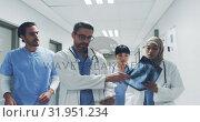 Купить «Team of doctors walking in hospital corridor discussing an x-ray and patient notes 4k», видеоролик № 31951234, снято 10 марта 2019 г. (c) Wavebreak Media / Фотобанк Лори