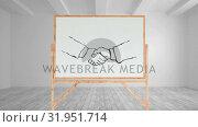 Купить «Drawing of a handshake on a blank canvas», видеоролик № 31951714, снято 13 июня 2019 г. (c) Wavebreak Media / Фотобанк Лори