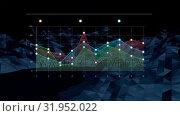 Coloured graph on dark blue rotating landscape. Стоковое видео, агентство Wavebreak Media / Фотобанк Лори