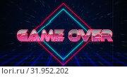 Купить «Retro Game over text glitching over blue and red triangles 4k», видеоролик № 31952202, снято 14 июня 2019 г. (c) Wavebreak Media / Фотобанк Лори