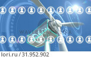 Wind turbine and profile icons. Стоковое видео, агентство Wavebreak Media / Фотобанк Лори