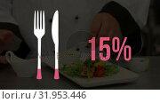 Купить «Cutlery icon and increasing percent in pink with chef preparing a dish», видеоролик № 31953446, снято 5 июля 2019 г. (c) Wavebreak Media / Фотобанк Лори