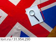 Купить «Top view flag of United Kingdom with notepad», фото № 31954290, снято 21 ноября 2018 г. (c) Pavel Biryukov / Фотобанк Лори