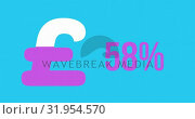 Купить «Pound symbol and increasing percentage in pink 4k», видеоролик № 31954570, снято 5 июля 2019 г. (c) Wavebreak Media / Фотобанк Лори