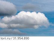 Купить «Красивые облака плывут по небу на фоне голубого неба погожим летним днем», фото № 31954890, снято 20 июля 2019 г. (c) А. А. Пирагис / Фотобанк Лори
