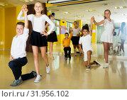 Купить «Children studying of partner dance», фото № 31956102, снято 13 июля 2017 г. (c) Яков Филимонов / Фотобанк Лори
