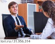 Купить «employee having job interview», фото № 31956314, снято 1 апреля 2020 г. (c) Яков Филимонов / Фотобанк Лори