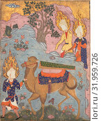 'Coffin of Imam 'Ali', Folio from a Falnama (The Book of Omens) of Ja'far al-Sadiq, mid-1550s–early 1560s, Attributed to Iran, Qazvin, Ink, opaque watercolor... (2017 год). Редакционное фото, фотограф © Copyright Artokoloro Quint Lox Limited / age Fotostock / Фотобанк Лори