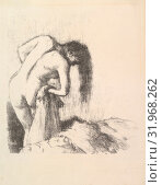 After the Bath III, 1891–92, Lithograph, transfer, and crayon, second state of two, printed on cream, textured, laid paper with watermark: AL in double... (2017 год). Редакционное фото, фотограф © Copyright Artokoloro Quint Lox Limited / age Fotostock / Фотобанк Лори