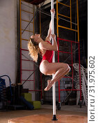 Купить «Attractive sports girl in red swimsuit dancer engaged on pylon», фото № 31975602, снято 16 сентября 2019 г. (c) Яков Филимонов / Фотобанк Лори