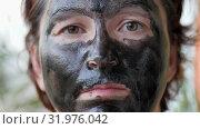 Female face covered with a black mask (2019 год). Редакционное видео, видеограф Константин Мерцалов / Фотобанк Лори