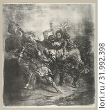 Weislingen attacked by Goetz's Men, 1836–43, Lithograph, second state of two, 12 1/4 x 10 11/16 in. (31.1 x 27.2 cm), Prints, Eugène Delacroix (French... (2017 год). Редакционное фото, фотограф © Copyright Artokoloro Quint Lox Limited / age Fotostock / Фотобанк Лори