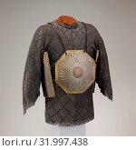 Купить «Cuirass (Char-aina), 17th–early 18th century, Persian, Safavid, Steel, iron, gold, leather, textile (wool), Breast- and backplates: 11 x 11 in. (28 x...», фото № 31997438, снято 8 мая 2017 г. (c) age Fotostock / Фотобанк Лори