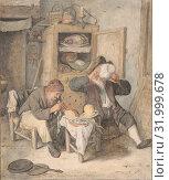 Купить «Kitchen Scene, 1687, Black and red chalk, brown, gray, blue, yellow, red washes, sheet: 10 9/16 x 8 7/8 in. (26.8 x 22.5 cm), Drawings, Cornelis Dusart (Dutch, Haarlem 1660–1704 Haarlem)», фото № 31999678, снято 22 апреля 2017 г. (c) age Fotostock / Фотобанк Лори