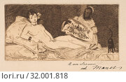 Olympia (small plate), 1867, Etching in brown ink on laid paper with partial watermark (fleur de lis in a cartouche), final state of six, Plate: 3 7/16... (2017 год). Редакционное фото, фотограф © Copyright Artokoloro Quint Lox Limited / age Fotostock / Фотобанк Лори