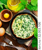 Купить «Omelet with nettles», фото № 32003106, снято 17 мая 2019 г. (c) Надежда Мишкова / Фотобанк Лори
