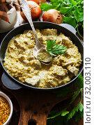 Купить «Chicken liver in creamy sauce with mustard», фото № 32003110, снято 24 мая 2019 г. (c) Надежда Мишкова / Фотобанк Лори