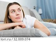 Купить «Girl is bored at lonely», фото № 32009074, снято 29 марта 2018 г. (c) Яков Филимонов / Фотобанк Лори