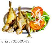 Купить «Fried fish scad with vegetables. Galician cuisine», фото № 32009478, снято 18 июня 2019 г. (c) Яков Филимонов / Фотобанк Лори
